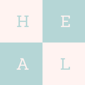 letters in checkerboard spelling out the word HEAL
